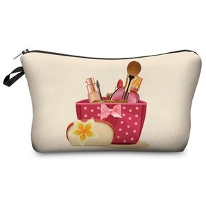 NWT Fashion Graphic Cosmetic Bag ~ Pink Basket